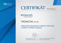 Certifikát o absolvovaní školenia na návrhy, inštalácie a opravy systému Avigilon vydaný spoločnosťou TSS Group.