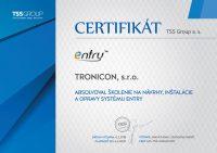 Certifikát o absolvovaní školenia na návrhy, inštalácie a opravy systému Entry vydaný spoločnosťou TSS Group.