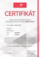 Certifikát o absolvovaní odborného školenia inštalácií elektronických zabezpečovacích systémov značky Satel vydaný spoločnosťou EUROIN.