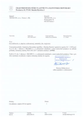 Osvedčenie o zápise ochrannej známky do registra vydaný Úradom priemyselného vlastníctva Slovenskej republiky.