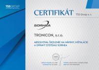 Certifikát o absolvovaní školenia na návrhy, inštalácie a opravy systému Sorhea vydaný spoločnosťou TSS Group.