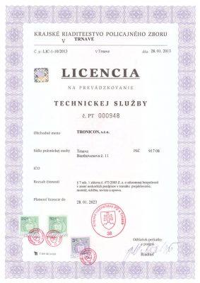 Licencia na prevádzkovanie technickej služby.