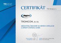 Certifikát o absolvovaní školenia na návrhy, inštalácie a opravy systému Umirs vydaný spoločnosťou TSS Group.